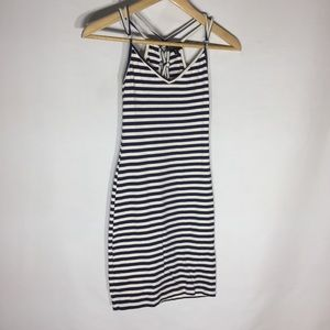 Topshop striped ribbed jersey cami dress